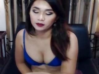 Hung Ladyboy Tugs The Brush Shecock Coupled With Teases The Brush Webcam Fans