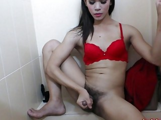 Ladyboy Janny Masturbating Action